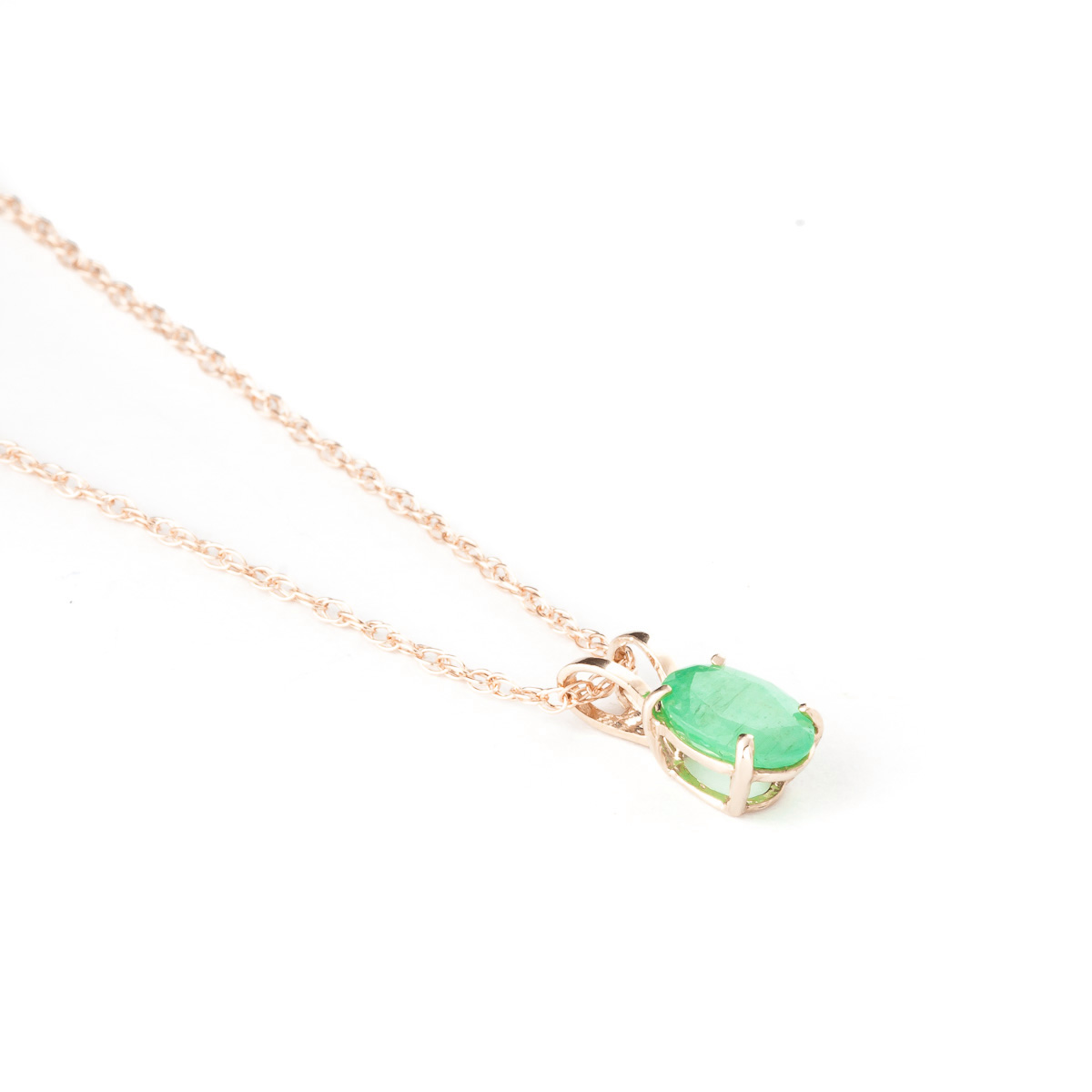 Oval Cut Emerald Pendant Necklace 0.75ct in 9ct Rose Gold