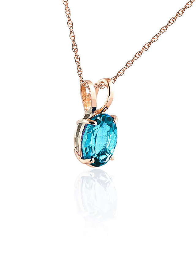 Oval Cut Blue Topaz Pendant Necklace 0.85ct in 9ct Rose Gold
