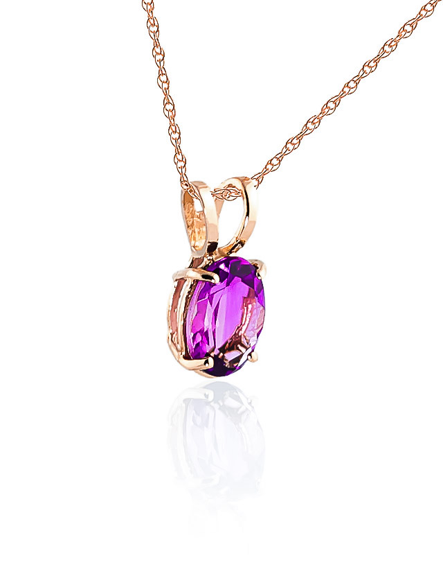Oval Cut Pink Topaz Pendant Necklace 0.85ct in 9ct Rose Gold