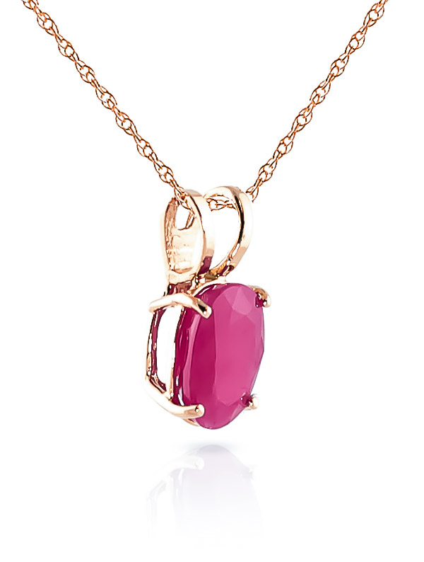 Oval Cut Ruby Pendant Necklace 1.0ct in 9ct Rose Gold