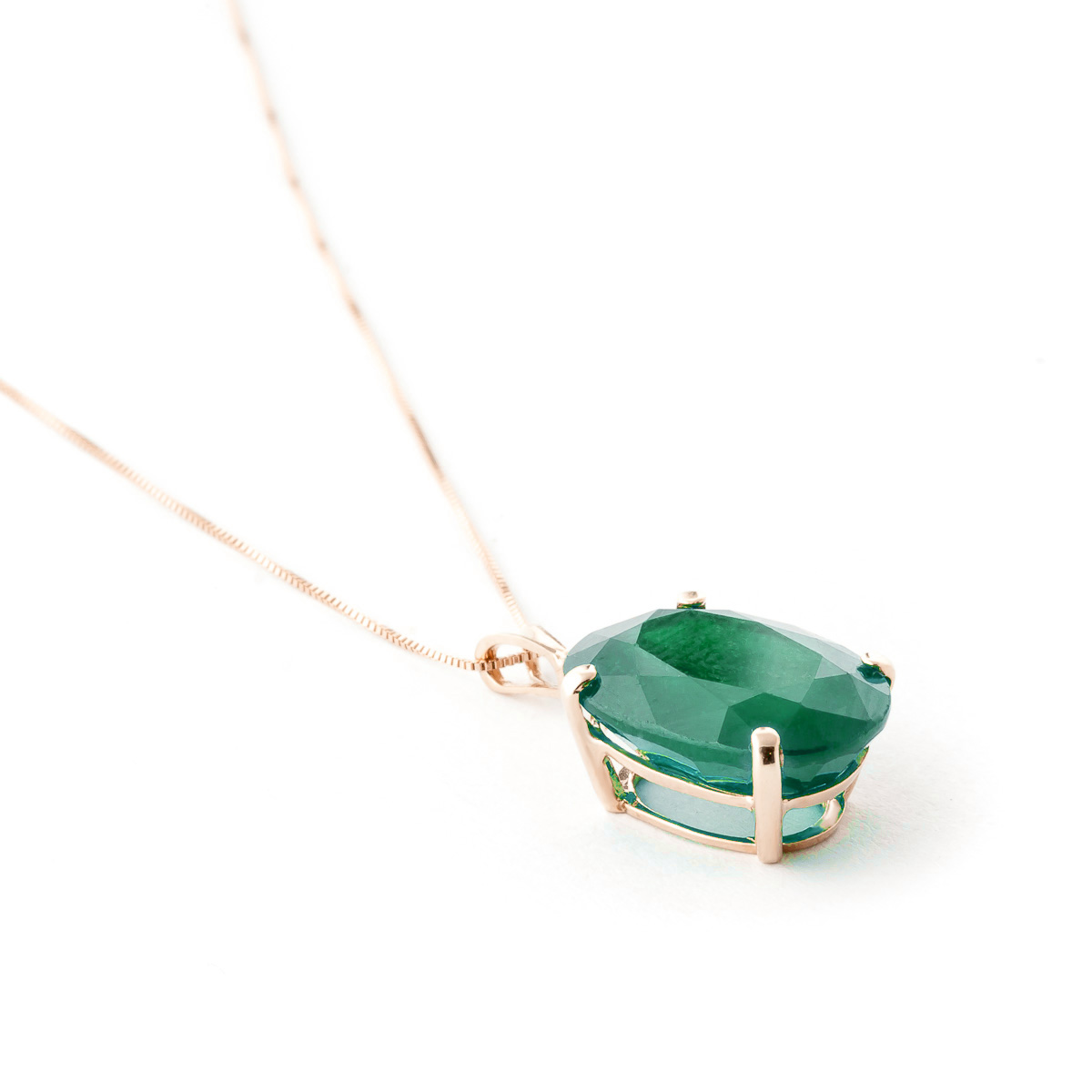 Oval Cut Emerald Pendant Necklace 6.5ct in 9ct Rose Gold