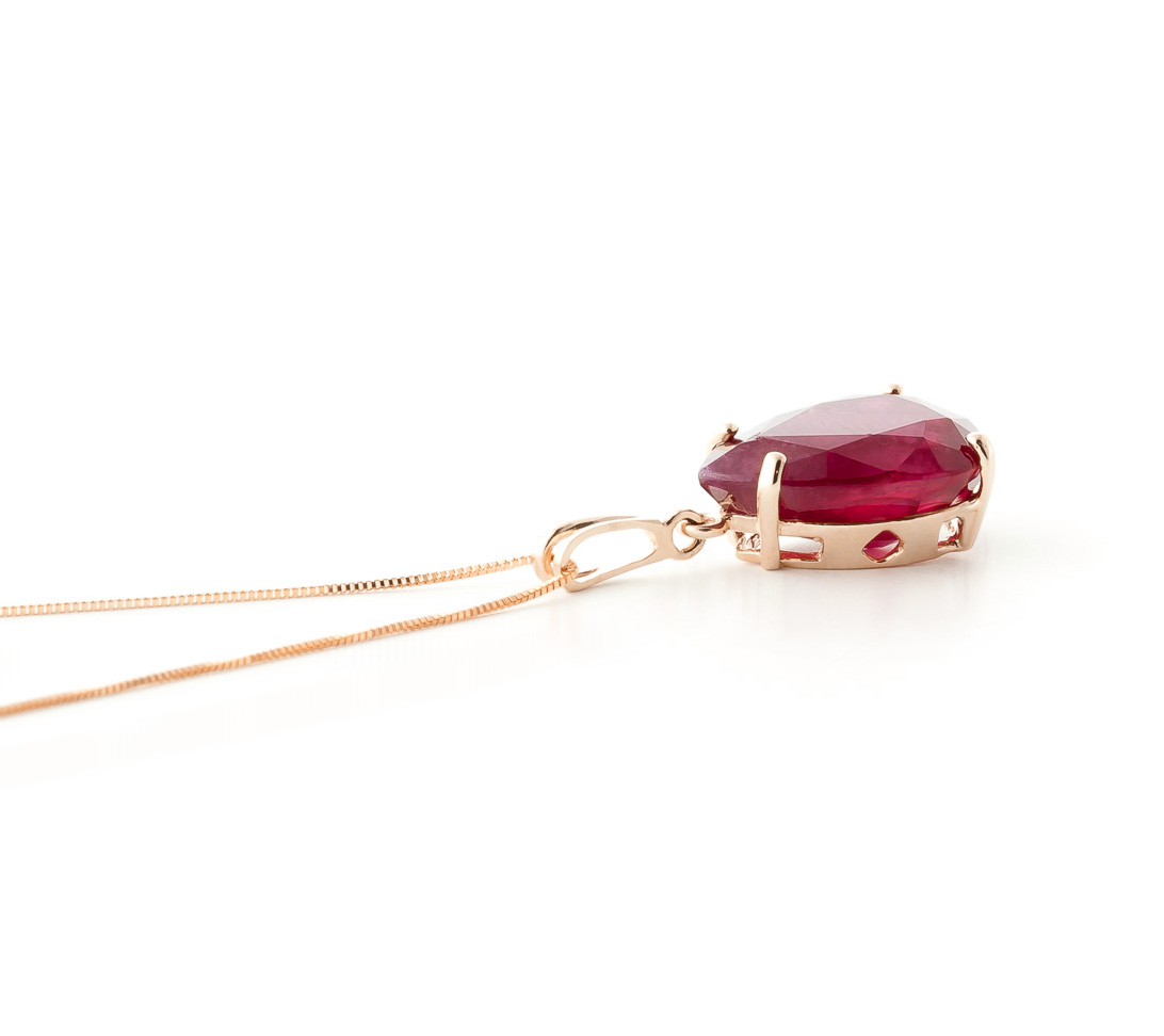 Pear Cut Ruby Pendant Necklace 5.0ct in 9ct Rose Gold