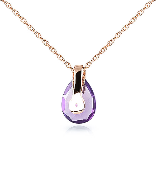 Pear Cut Amethyst Pendant Necklace 0.68ct in 9ct Rose Gold