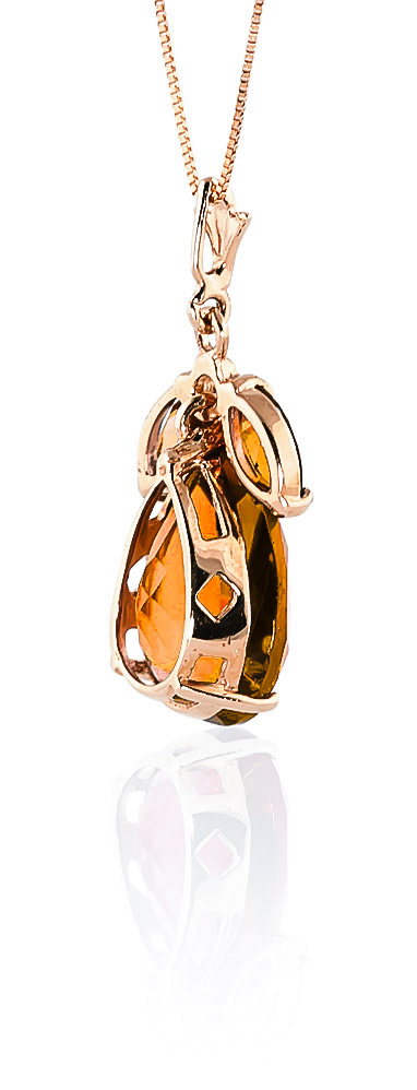 Pear Cut Citrine Pendant Necklace 6.5ctw in 9ct Rose Gold