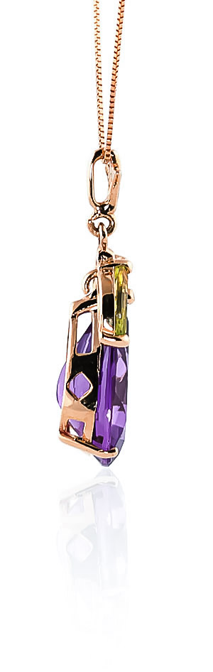 Amethyst and Peridot Pendant Necklace 6.5ctw in 9ct Rose Gold