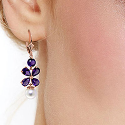 Amethyst and Pearl Blossom Drop Earrings 6.28ctw in 9ct Rose Gold
