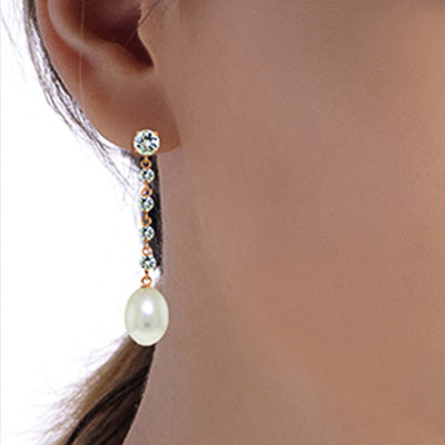 Aquamarine and Pearl by the Yard Drop Earrings 10.0ctw in 9ct Rose Gold