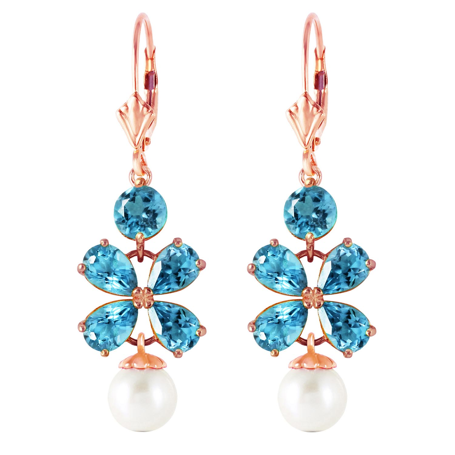 Blue Topaz and Pearl Blossom Drop Earrings 3.25ctw in 9ct Rose Gold