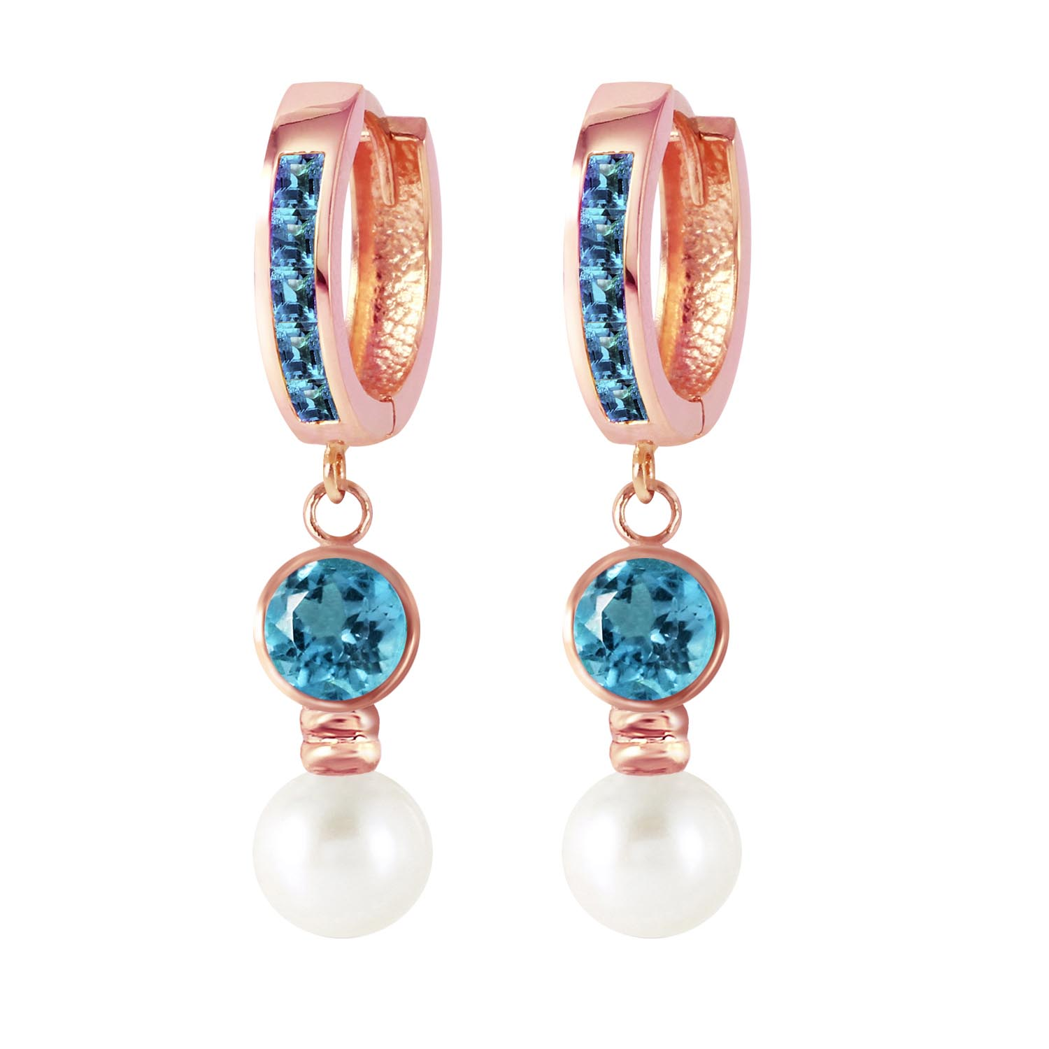 Blue Topaz and Pearl Huggie Earrings 4.3ctw in 9ct Rose Gold