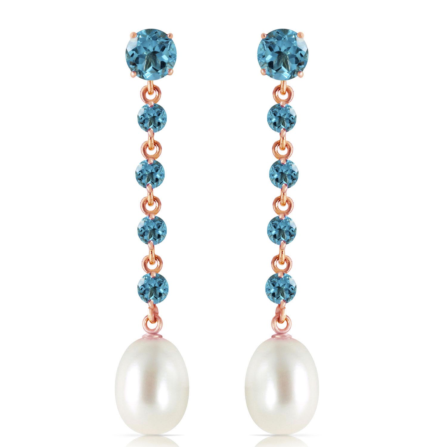 Blue Topaz and Pearl by the Yard Drop Earrings 10.0ctw in 9ct Rose Gold