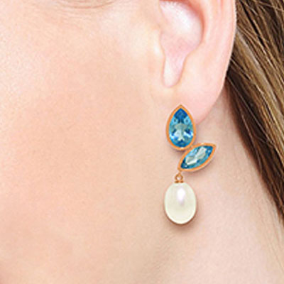 Blue Topaz and Pearl Petal Drop Earrings 16.0ctw in 9ct Rose Gold
