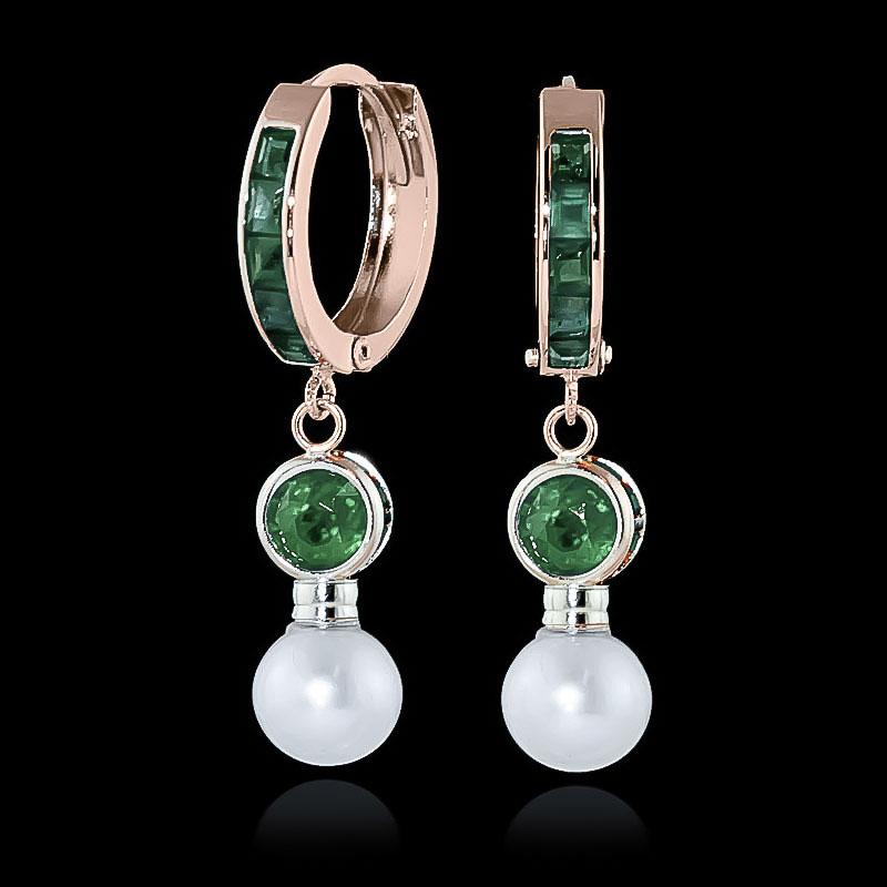 Emerald and Pearl Huggie Earrings 4.65ctw in 9ct Rose Gold