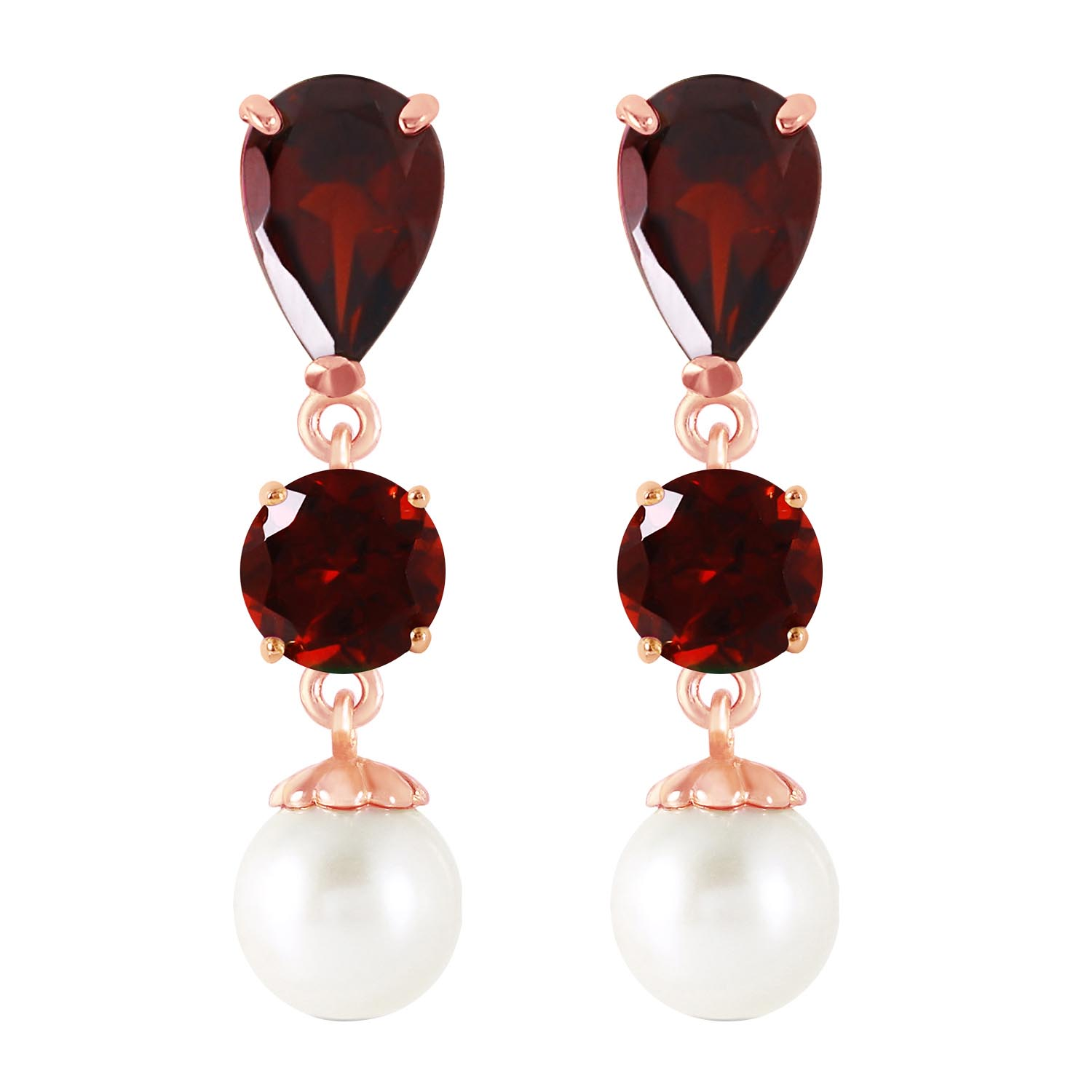 Garnet and Pearl Droplet Earrings 3.5ctw in 9ct Rose Gold
