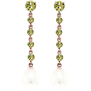 Peridot and Pearl by the Yard Drop Earrings 10.0ctw in 9ct Rose Gold