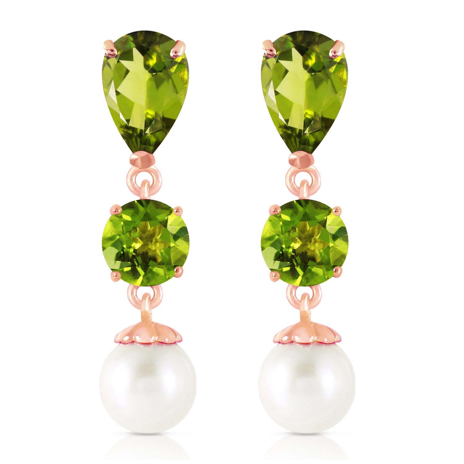 Peridot and Pearl Droplet Earrings 10.5ctw in 9ct Rose Gold