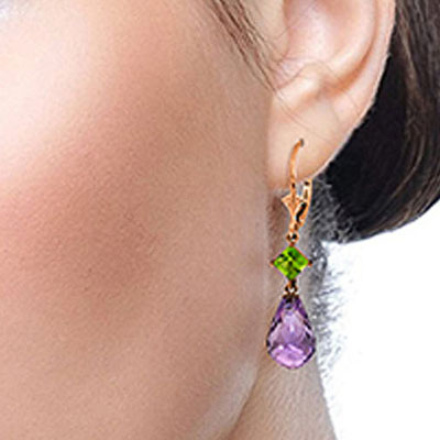 Amethyst and Peridot Drop Earrings 11.0ctw in 9ct Rose Gold