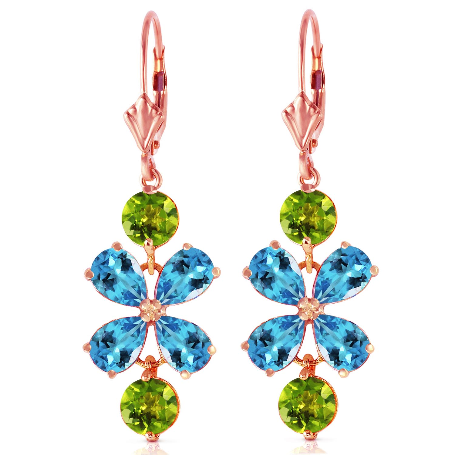 Blue Topaz and Peridot Blossom Drop Earrings 5.32ctw in 9ct Rose Gold