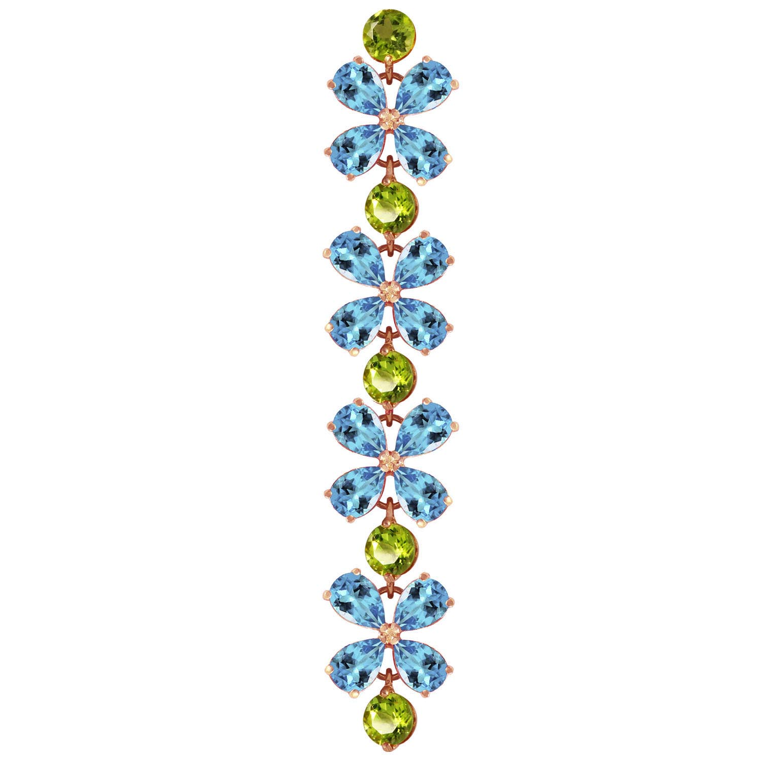 Blue Topaz and Peridot Blossom Bracelet 20.7ctw in 9ct Rose Gold
