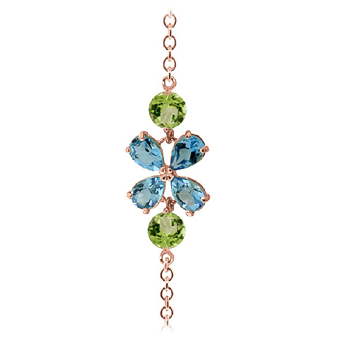 Blue Topaz and Peridot Adjustable Bracelet 3.15ctw in 9ct Rose Gold