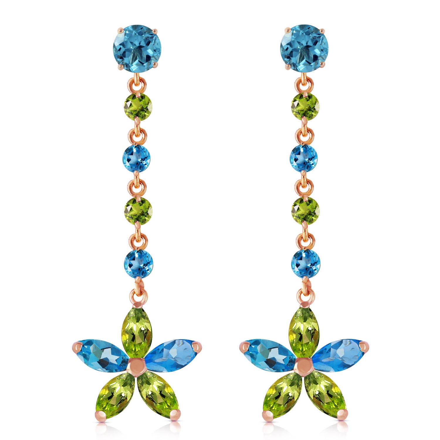 Blue Topaz and Peridot Daisy Chain Drop Earrings 4.8ctw in 9ct Rose Gold