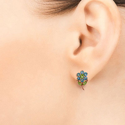 Blue Topaz and Peridot Flower Petal Stud Earrings 2.12ctw in 9ct Rose Gold