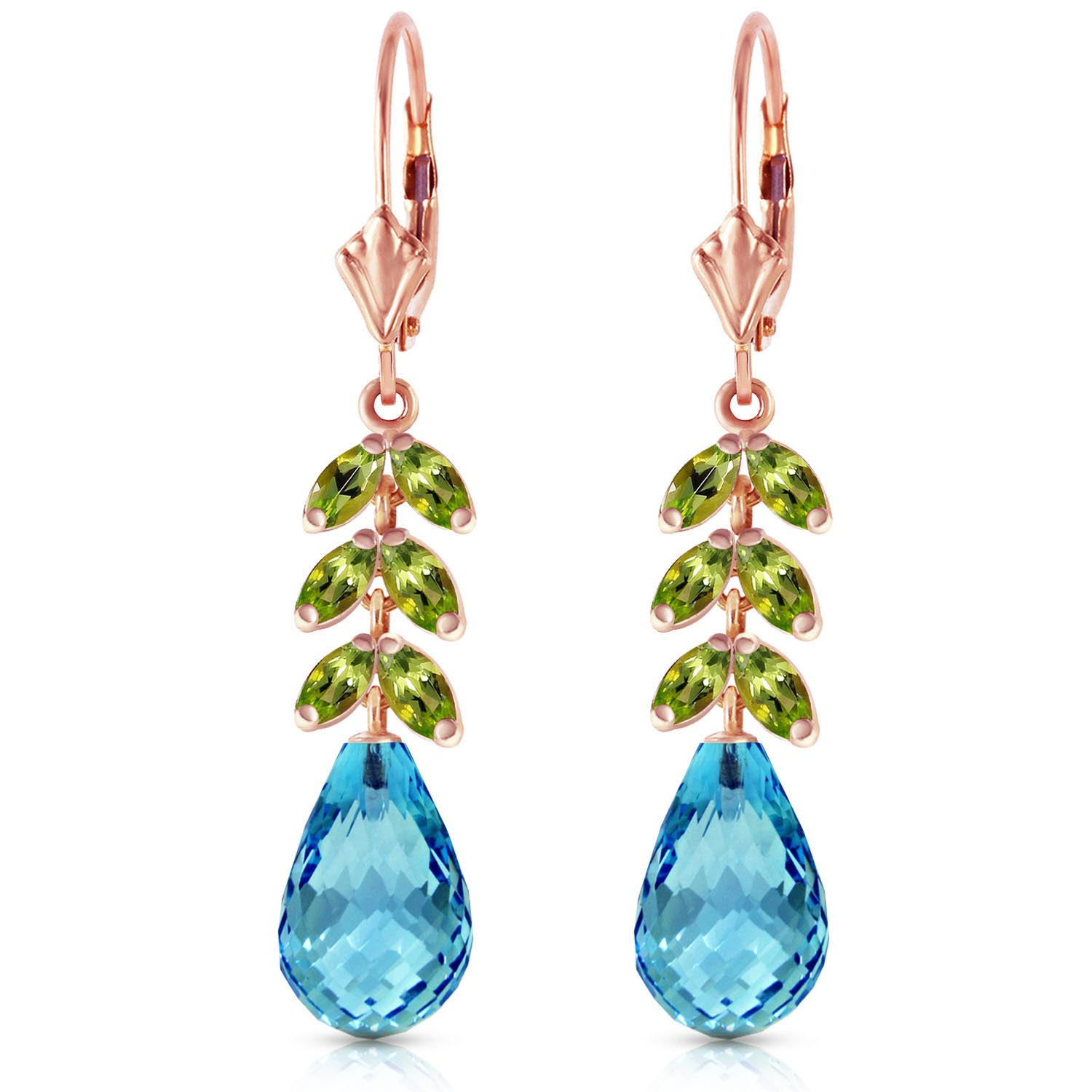 Blue Topaz and Peridot Drop Earrings 11.2ctw in 9ct Rose Gold
