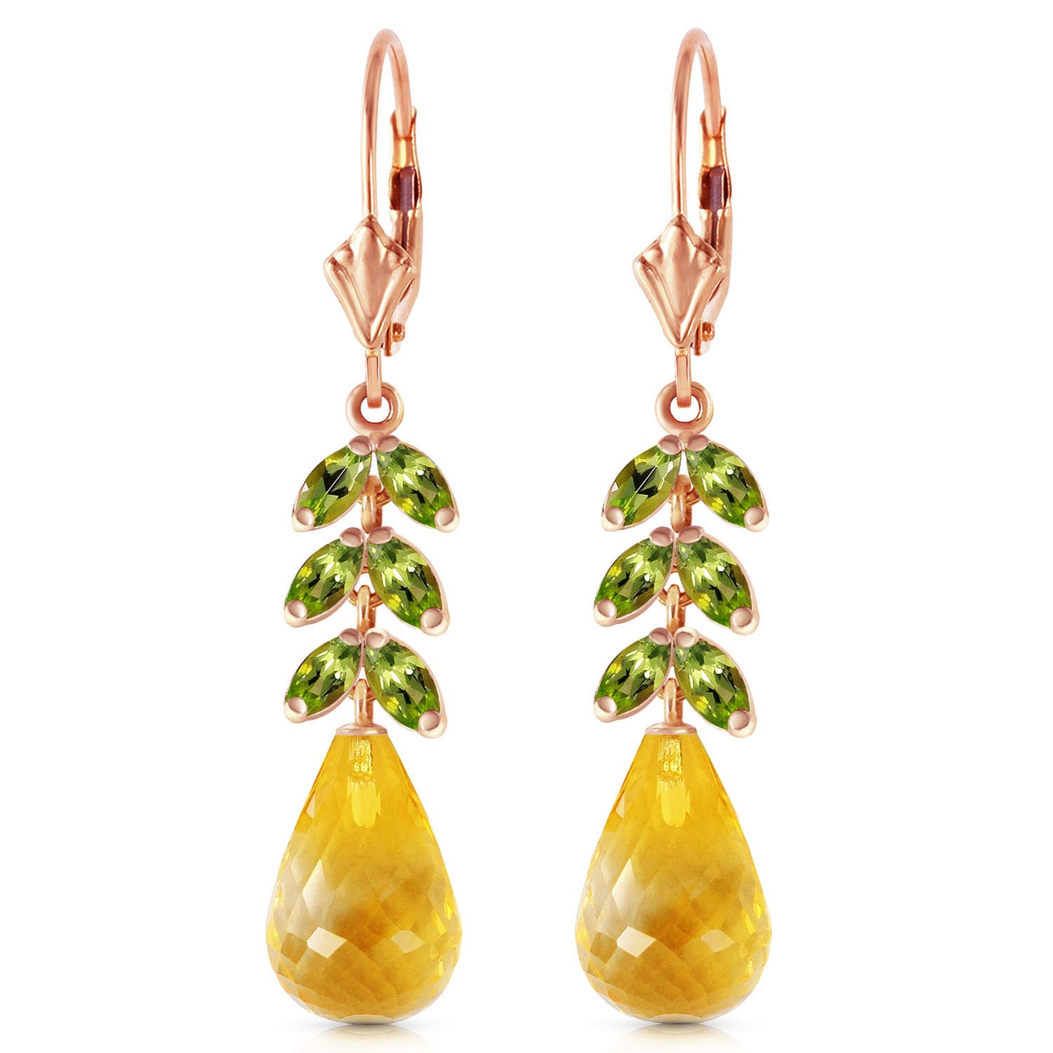 Citrine and Peridot Drop Earrings 11.2ctw in 9ct Rose Gold