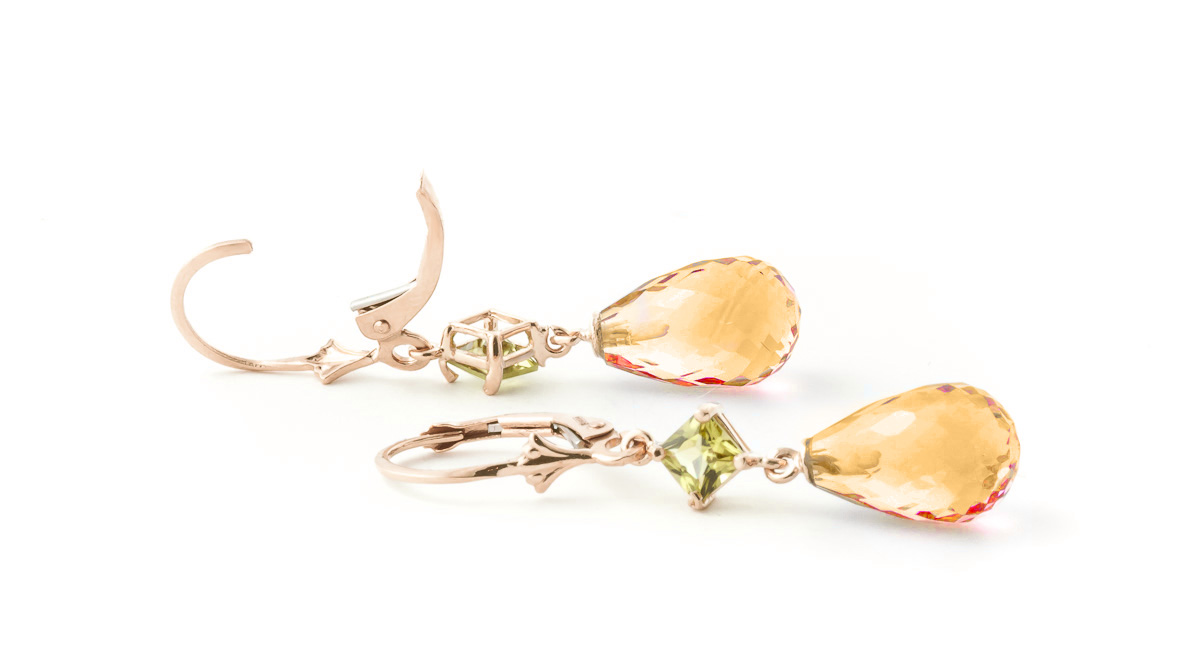 Citrine and Peridot Drop Earrings 11.0ctw in 9ct Rose Gold