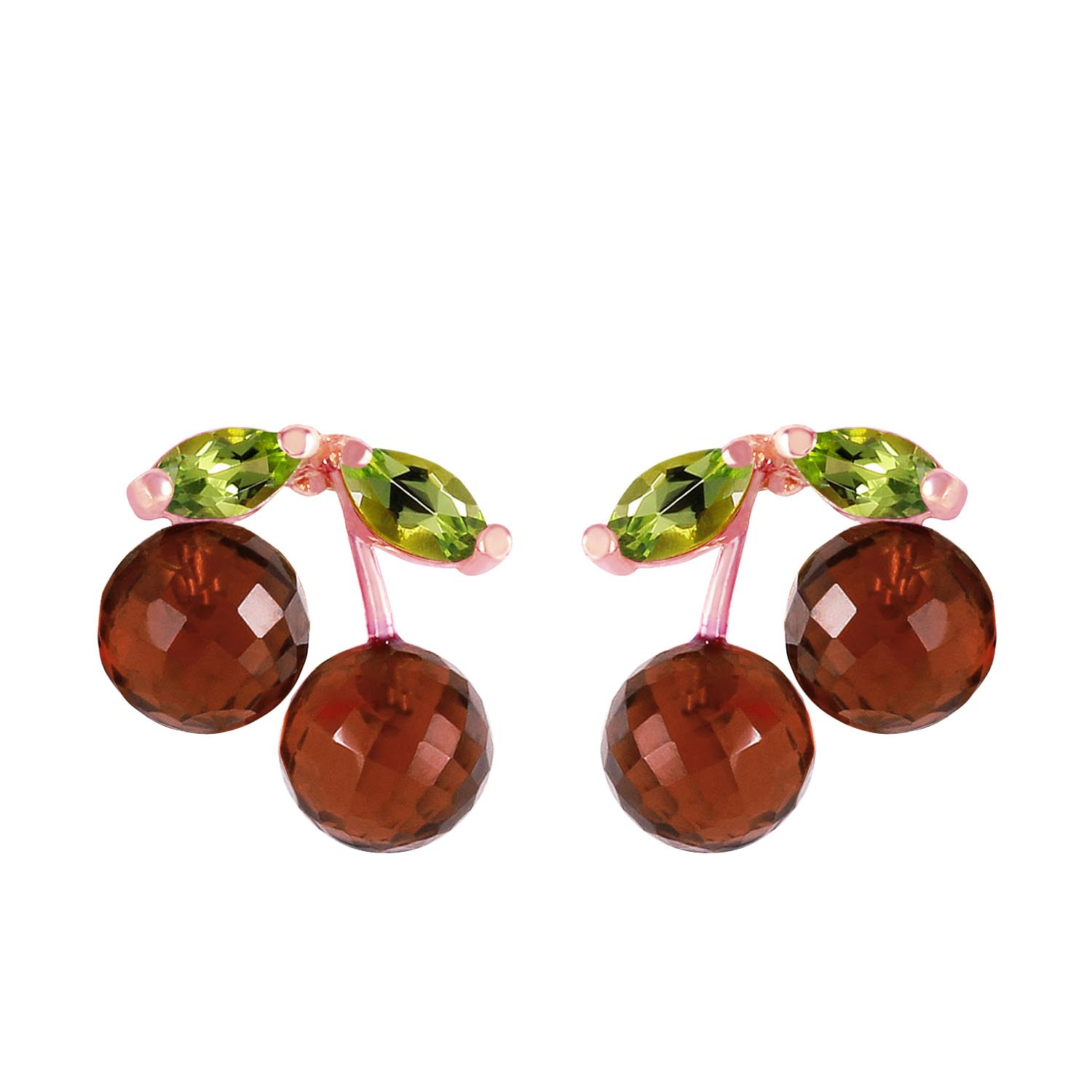 Garnet and Peridot Cherry Drop Stud Earrings 2.9ctw in 9ct Rose Gold