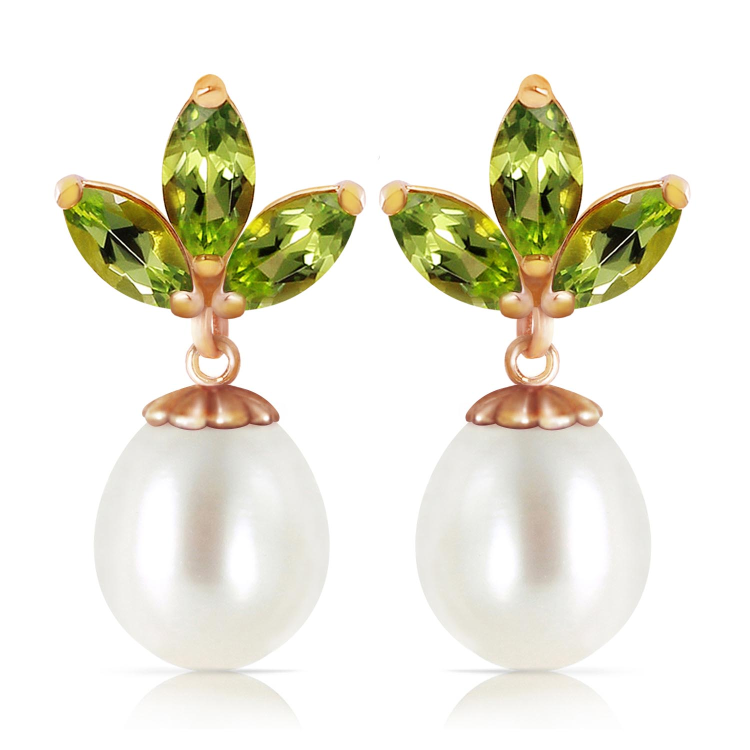 Pearl and Peridot Petal Drop Earrings 9.5ctw in 9ct Rose Gold