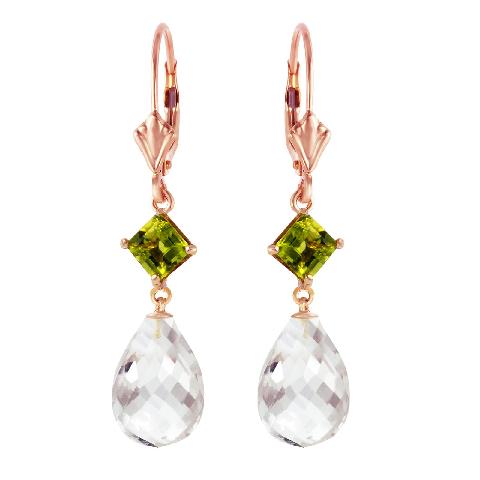 White Topaz and Peridot Drop Earrings 11.0ctw in 9ct Rose Gold