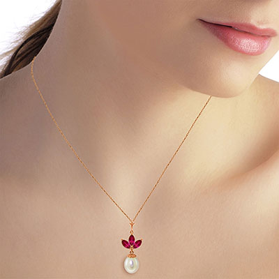 Pearl and Ruby Petal Pendant Necklace 4.75ctw in 9ct Rose Gold