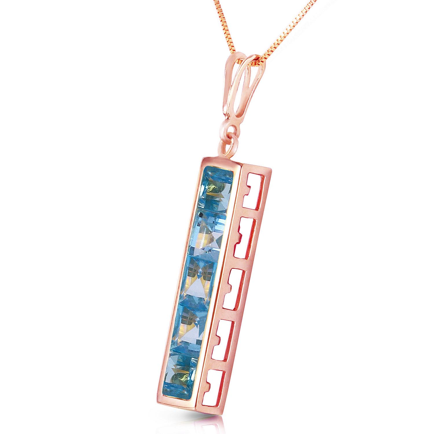 Blue Topaz Channel Set Pendant Necklace 2.25ctw in 9ct Rose Gold