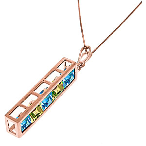 Blue Topaz and Peridot Channel Set Pendant Necklace 2.25ctw in 9ct Rose Gold