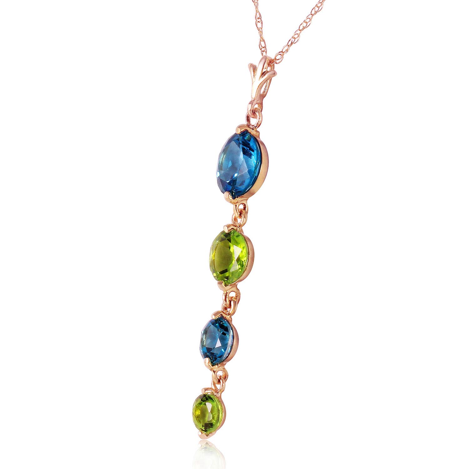 Blue Topaz and Peridot Quadruplo Pendant Necklace 3.9ctw in 9ct Rose Gold