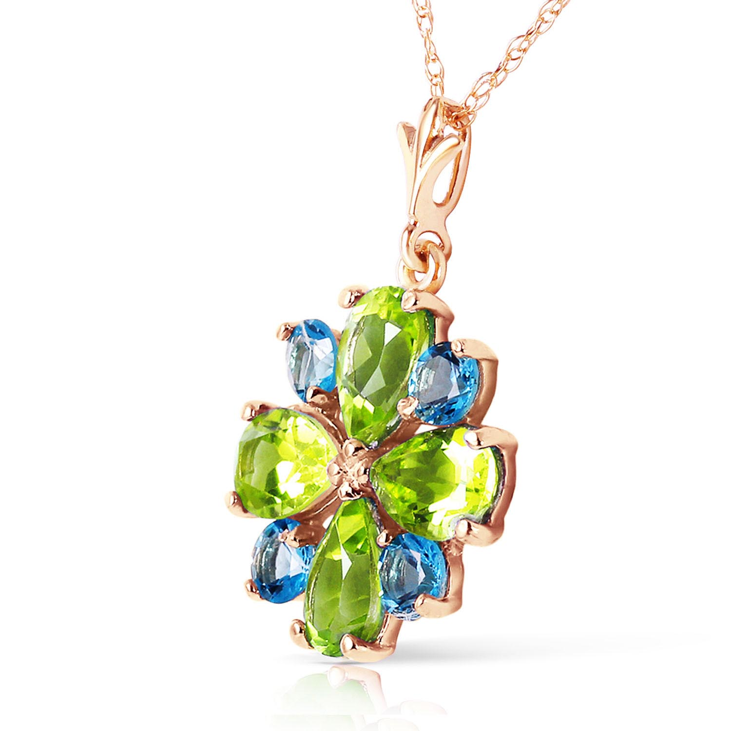 Peridot and Blue Topaz Sunflower Pendant Necklace 2.43ctw in 9ct Rose Gold