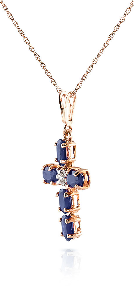 Sapphire and Diamond Rio Cross Pendant Necklace 1.73ctw in 9ct Rose Gold