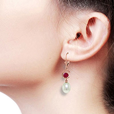 Pearl and Ruby Drop Earrings 9.0ctw in 9ct Rose Gold