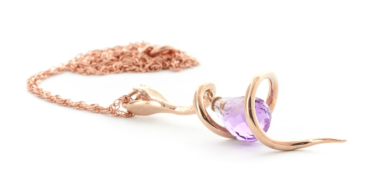Amethyst and Diamond Serpent Pendant Necklace 2.25ct in 9ct Rose Gold