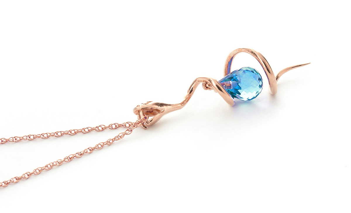 Blue Topaz and Diamond Serpent Pendant Necklace 2.25ct in 9ct Rose Gold