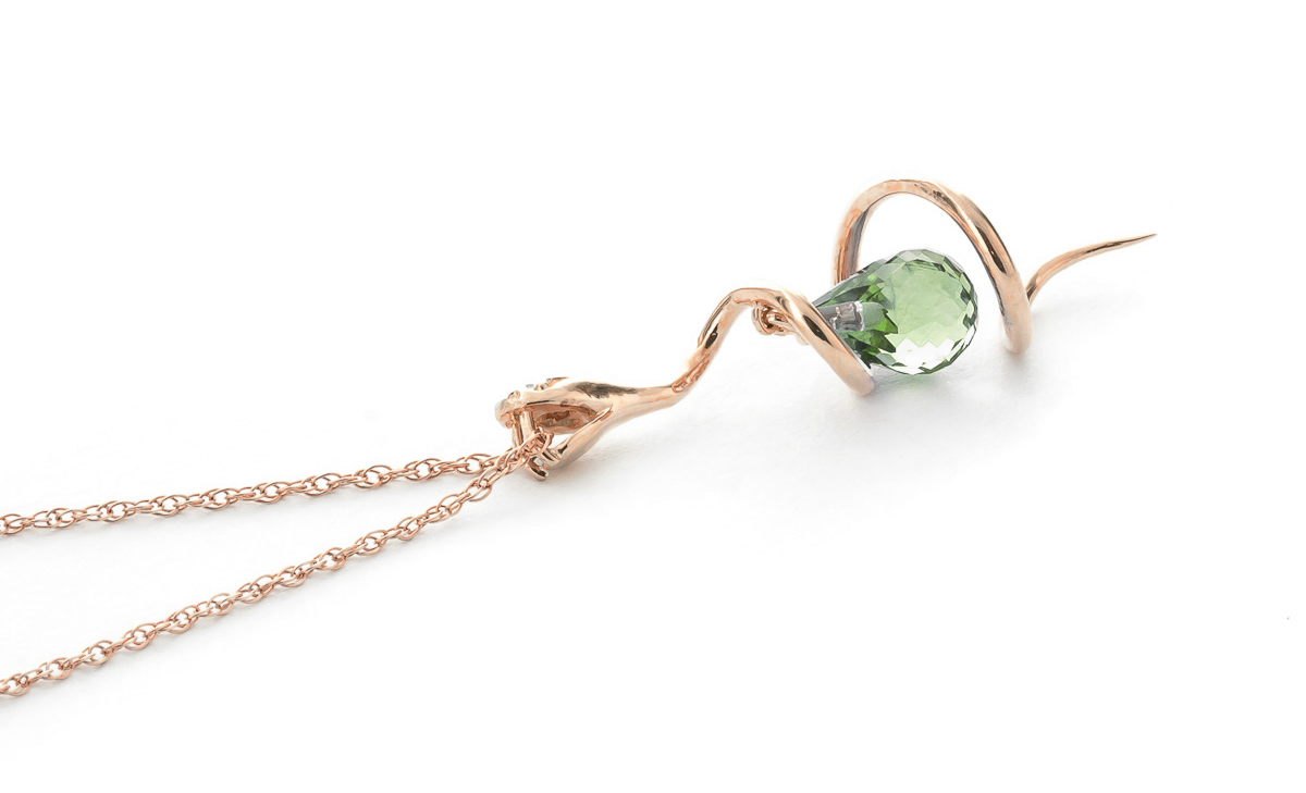 Green Amethyst and Diamond Serpent Pendant Necklace 2.25ct in 9ct Rose Gold