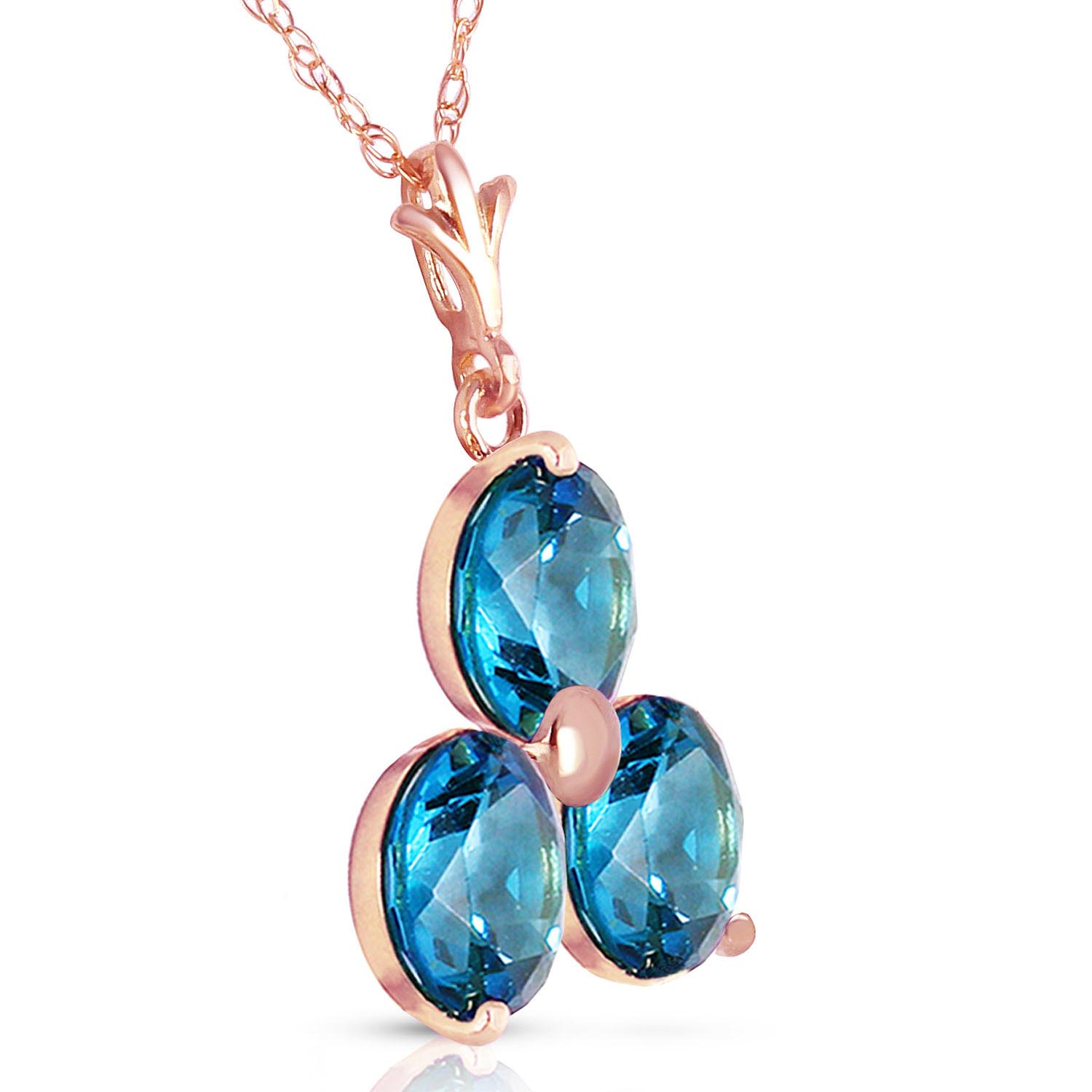 Blue Topaz Trinity Pendant Necklace 0.75ctw in 9ct Rose Gold