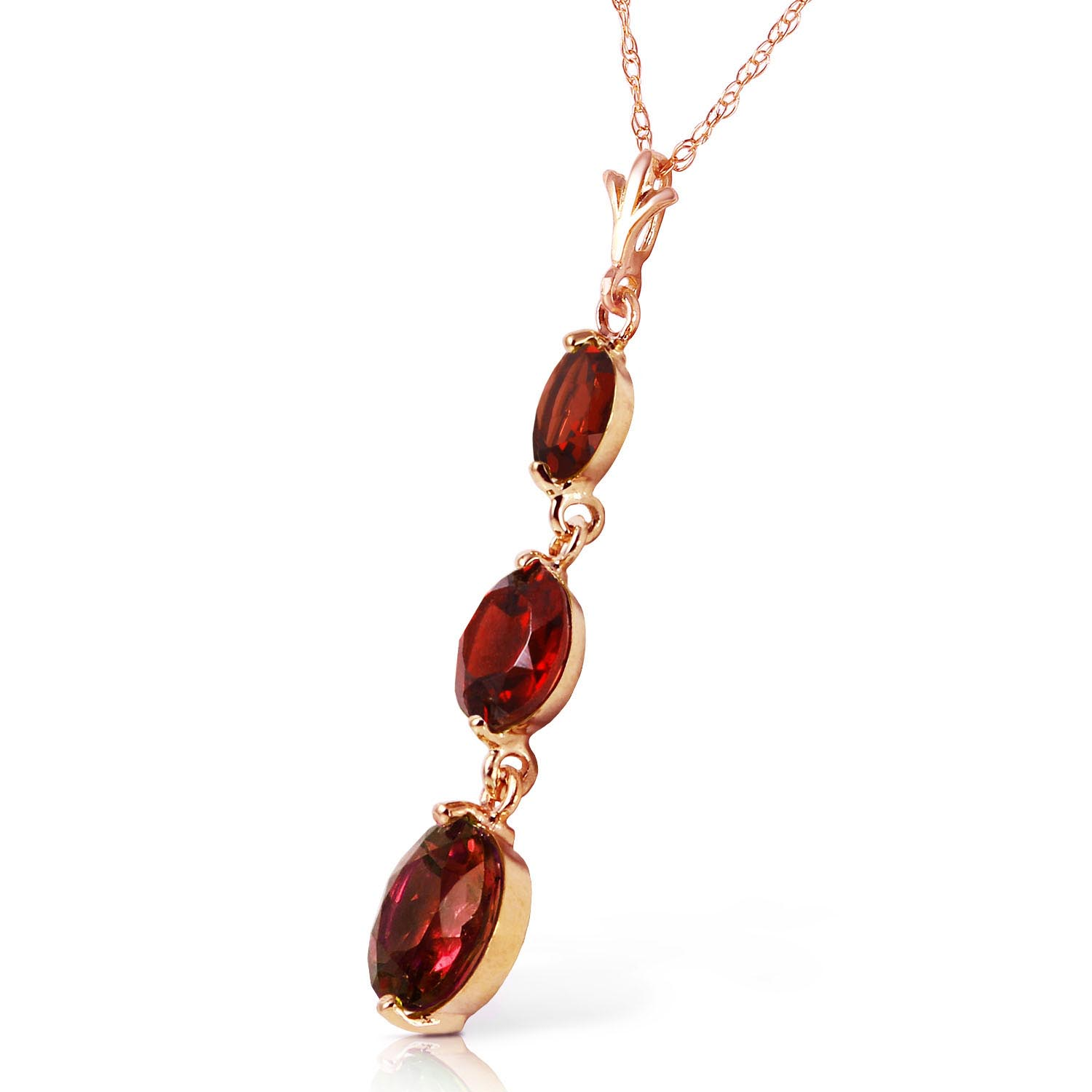 Garnet Trinity Pendant Necklace 3.6ctw in 9ct Rose Gold