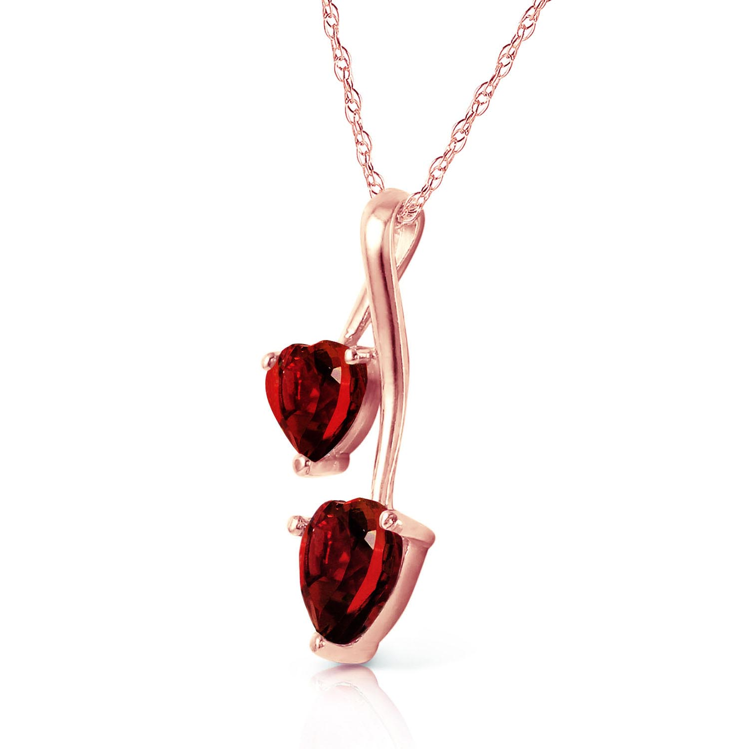 Garnet Twin Heart Pendant Necklace 1.4ctw in 9ct Rose Gold