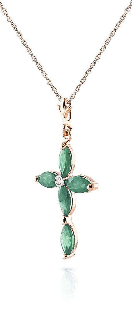 Emerald and Diamond Vatican Cross Pendant Necklace 1.5ctw in 9ct Rose Gold
