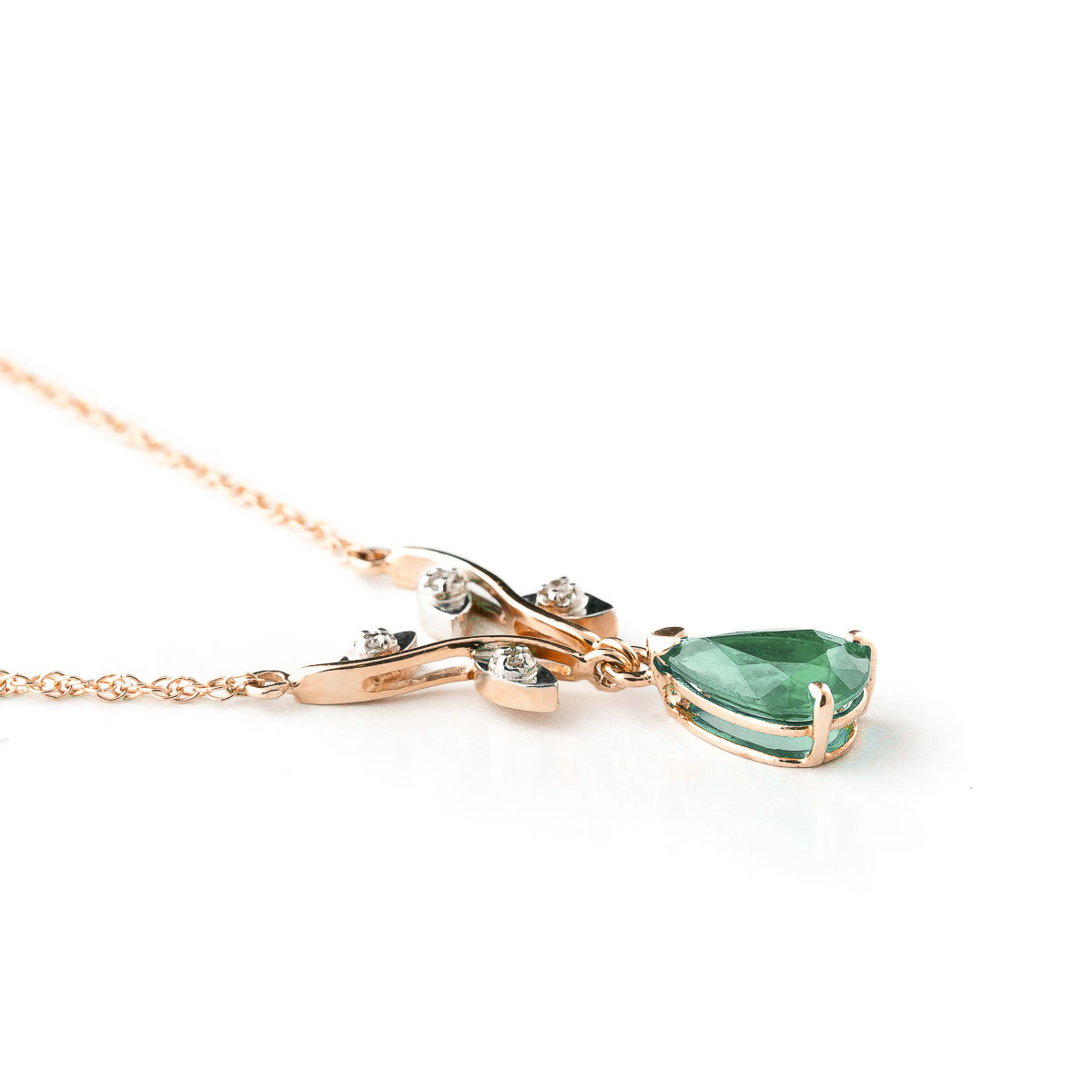 Emerald and Diamond Vine Branch Pendant Necklace 1.0ct in 9ct Rose Gold