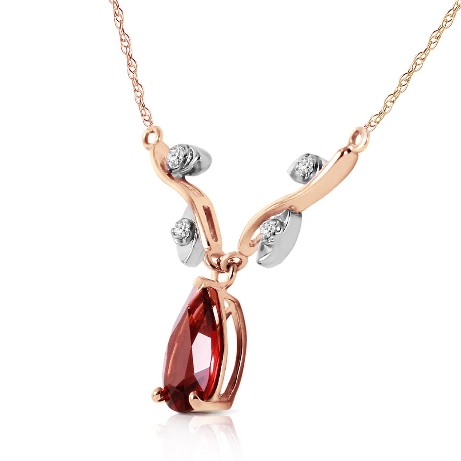 Garnet and Diamond Vine Branch Pendant Necklace 1.5ct in 9ct Rose Gold