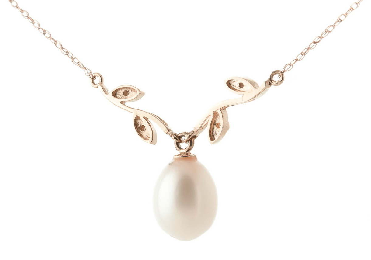 Pearl and Diamond Vine Branch Pendant Necklace 4.0ct in 9ct Rose Gold