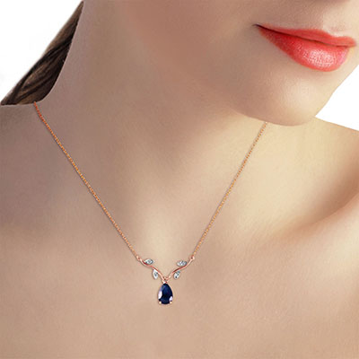 Sapphire and Diamond Vine Branch Pendant Necklace 1.5ct in 9ct Rose Gold