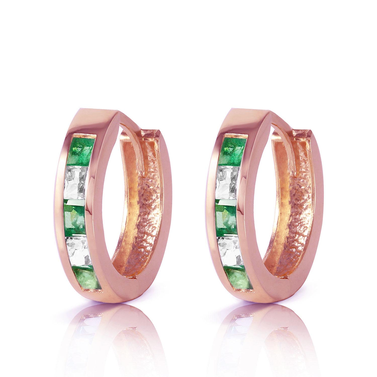 Emerald and White Topaz Huggie Earrings 1.26ctw in 9ct Rose Gold